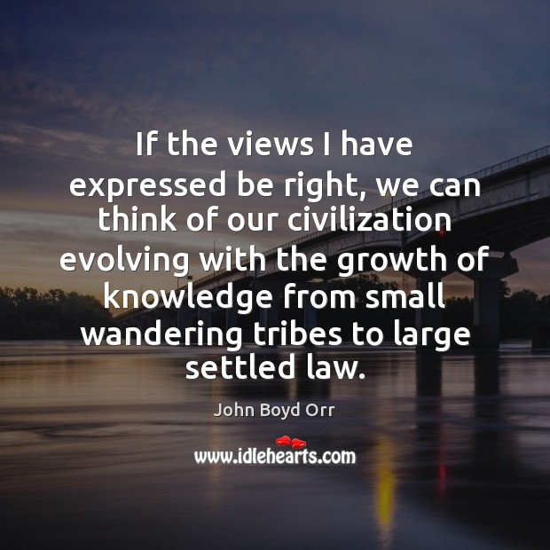 If the views I have expressed be right, we can think of John Boyd Orr Picture Quote