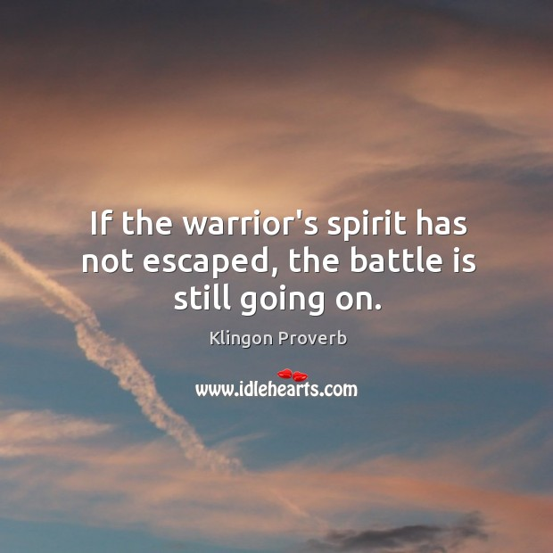 If the warrior's spirit has not escaped, the battle is still going on. Klingon Proverbs Image