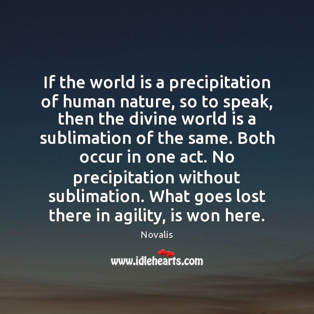 If the world is a precipitation of human nature, so to speak, Novalis Picture Quote