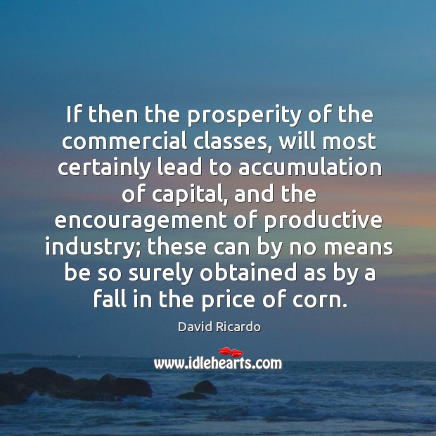 If then the prosperity of the commercial classes, will most certainly lead to accumulation of capital David Ricardo Picture Quote