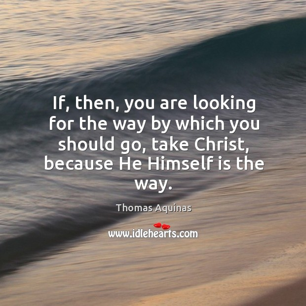 If, then, you are looking for the way by which you should go, take christ, because he himself is the way. Image