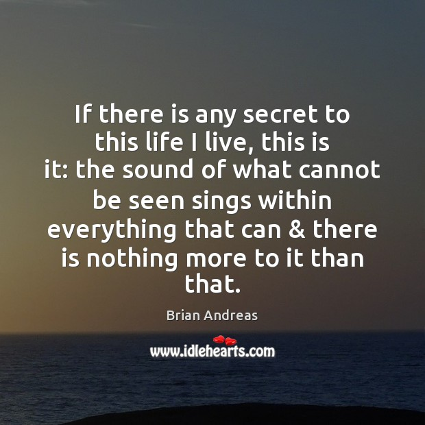 If there is any secret to this life I live, this is Brian Andreas Picture Quote