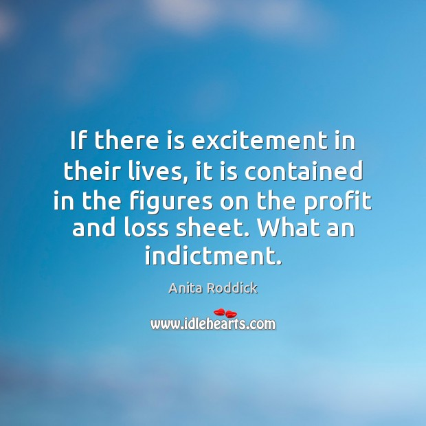 If there is excitement in their lives, it is contained in the Anita Roddick Picture Quote