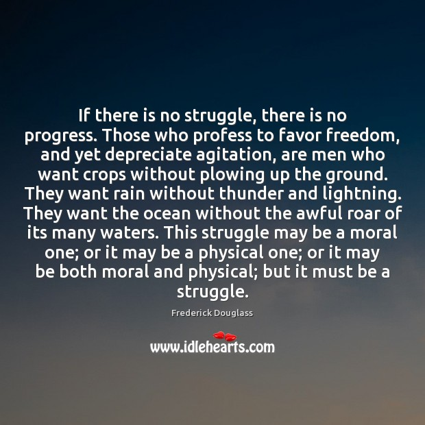 If there is no struggle, there is no progress. Those who profess Frederick Douglass Picture Quote