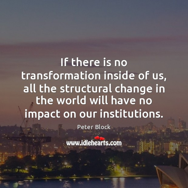 If there is no transformation inside of us, all the structural change Image