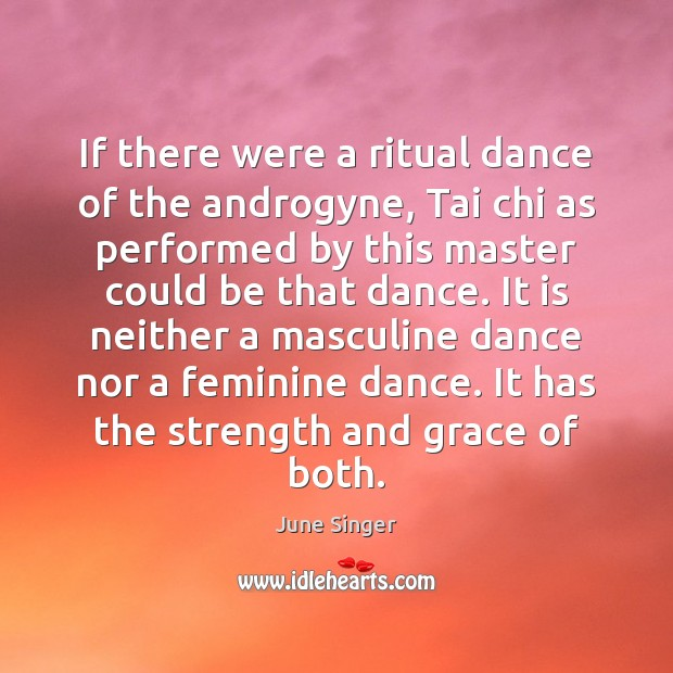 If there were a ritual dance of the androgyne, Tai chi as Image
