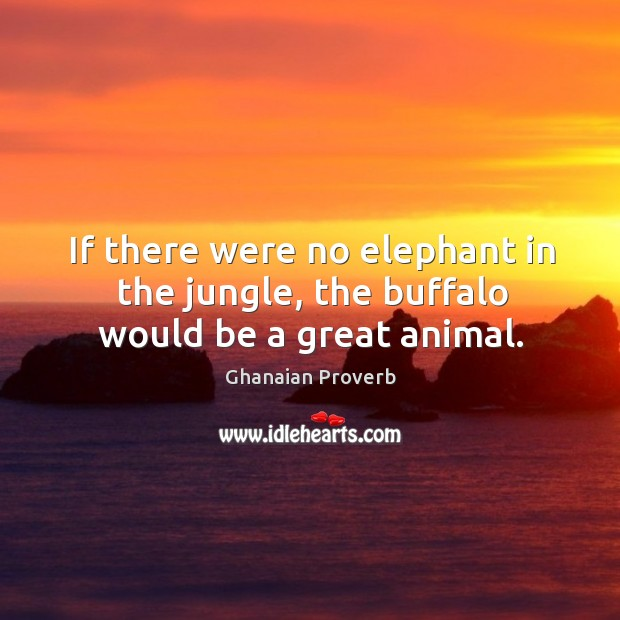 If there were no elephant in the jungle, the buffalo would be a great animal. Ghanaian Proverbs Image