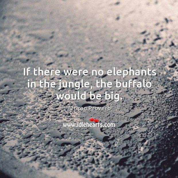 If there were no elephants in the jungle, the buffalo would be big. Image