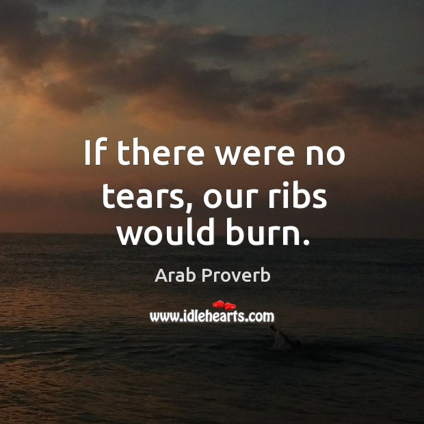 If there were no tears, our ribs would burn. Arab Proverbs Image