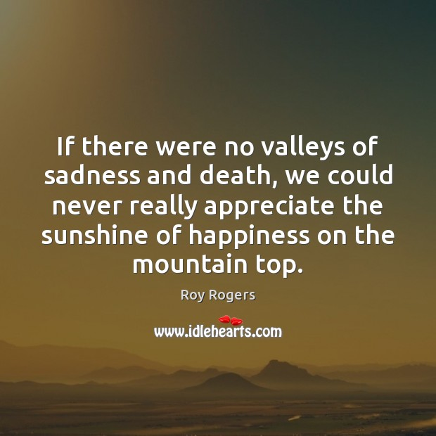 If there were no valleys of sadness and death, we could never Appreciate Quotes Image