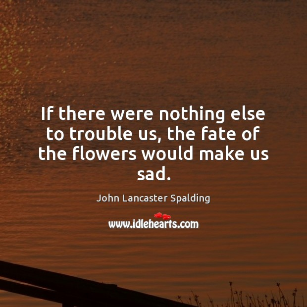 If there were nothing else to trouble us, the fate of the flowers would make us sad. John Lancaster Spalding Picture Quote