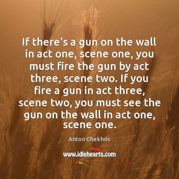 Image, If there's a gun on the wall in act one, scene one,