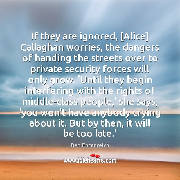 Image, If they are ignored, [Alice] Callaghan worries, the dangers of handing the