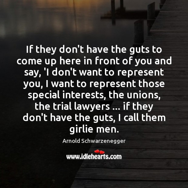 If they don't have the guts to come up here in front Arnold Schwarzenegger Picture Quote