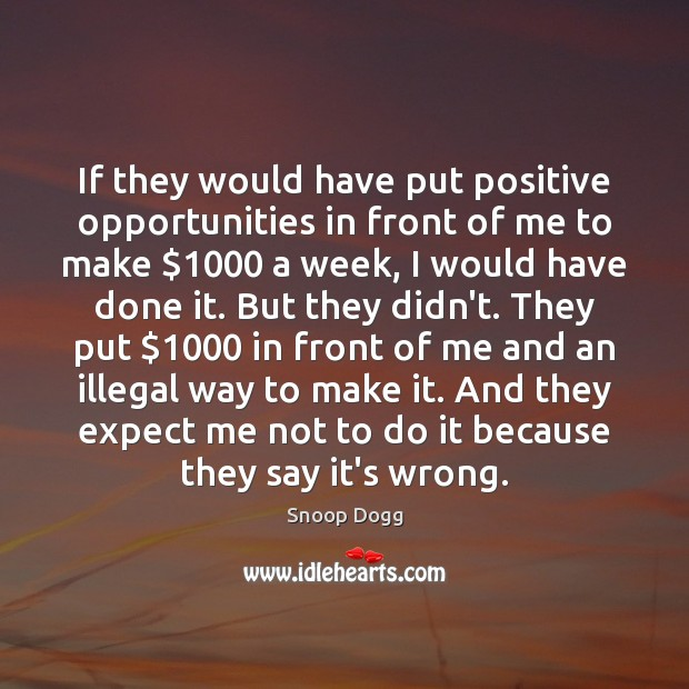 If they would have put positive opportunities in front of me to Snoop Dogg Picture Quote