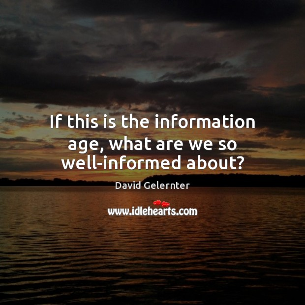 If this is the information age, what are we so well-informed about? Image