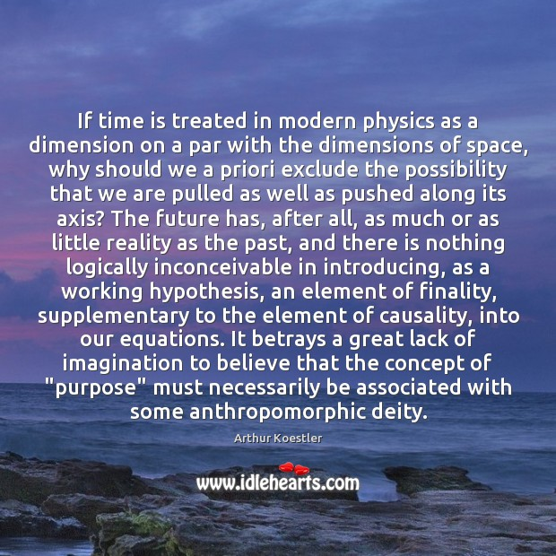 If time is treated in modern physics as a dimension on a Image