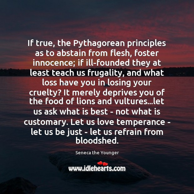 If true, the Pythagorean principles as to abstain from flesh, foster innocence; Seneca the Younger Picture Quote