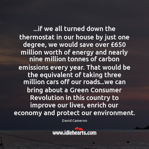…if we all turned down the thermostat in our house by just David Cameron Picture Quote
