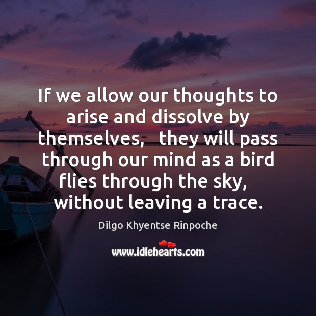 If we allow our thoughts to arise and dissolve by themselves,   they Dilgo Khyentse Rinpoche Picture Quote