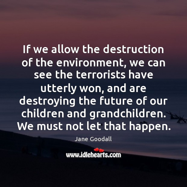 If we allow the destruction of the environment, we can see the Jane Goodall Picture Quote