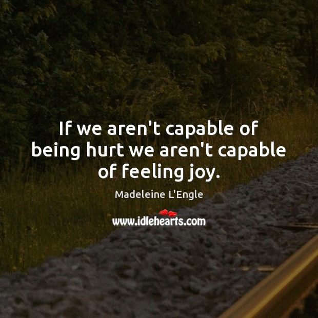 Image, If we aren't capable of being hurt we aren't capable of feeling joy.