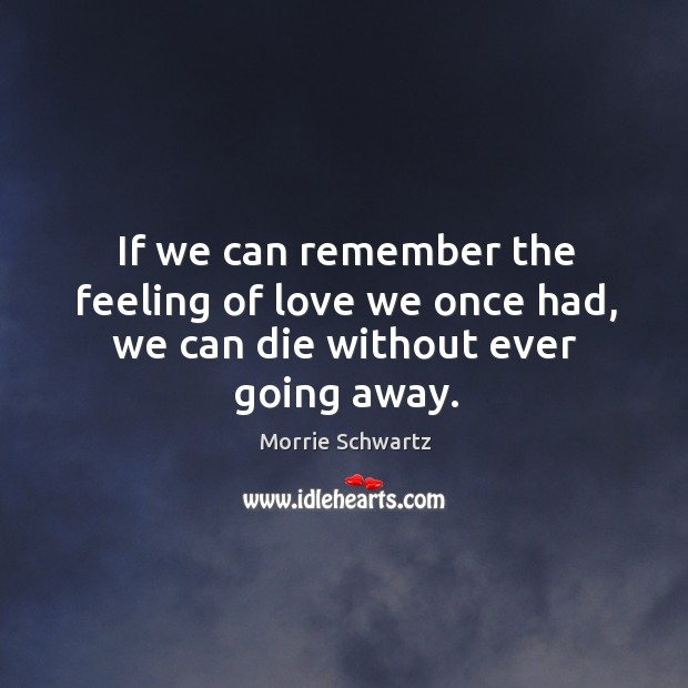If we can remember the feeling of love we once had, we can die without ever going away. Morrie Schwartz Picture Quote