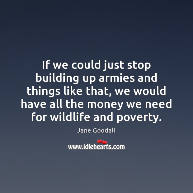 If we could just stop building up armies and things like that, Jane Goodall Picture Quote