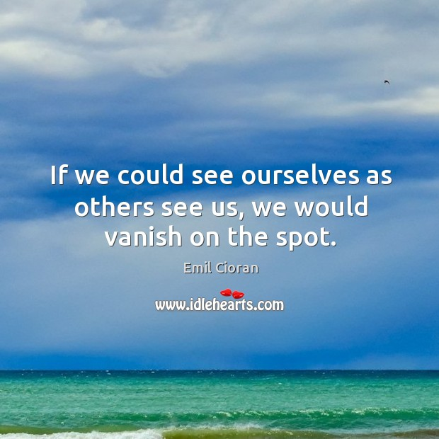 If we could see ourselves as others see us, we would vanish on the spot. Emil Cioran Picture Quote