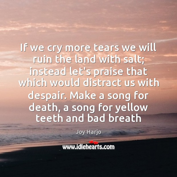 If we cry more tears we will ruin the land with salt; Joy Harjo Picture Quote