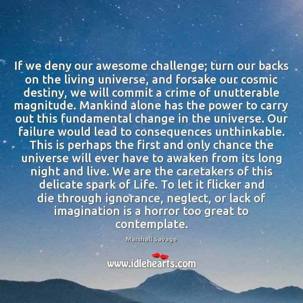 If we deny our awesome challenge; turn our backs on the living Imagination Quotes Image