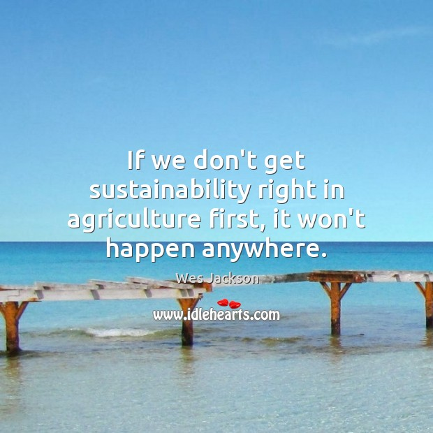 If we don't get sustainability right in agriculture first, it won't happen anywhere. Image