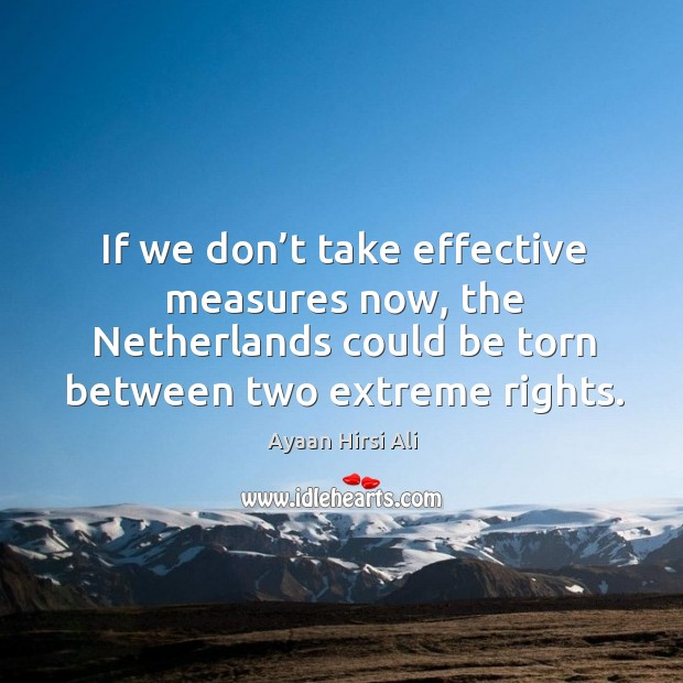 If we don't take effective measures now, the netherlands could be torn between two extreme rights. Image