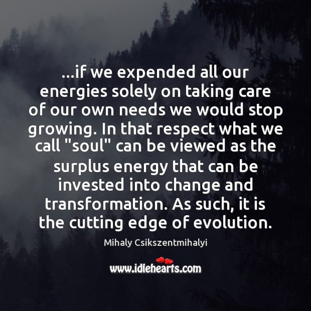 …if we expended all our energies solely on taking care of our Mihaly Csikszentmihalyi Picture Quote