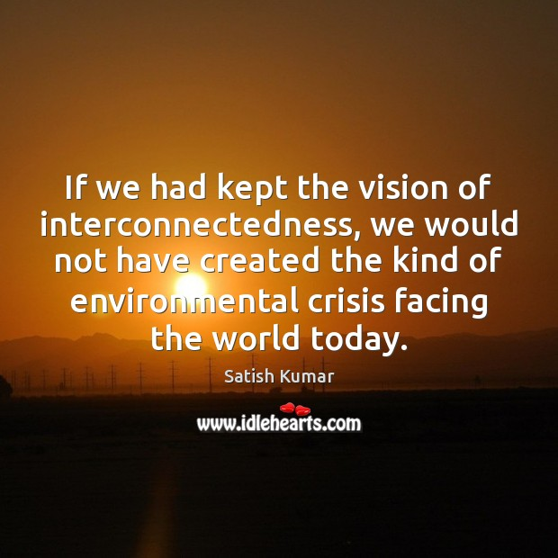 If we had kept the vision of interconnectedness, we would not have Satish Kumar Picture Quote