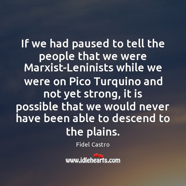 If we had paused to tell the people that we were Marxist-Leninists Fidel Castro Picture Quote