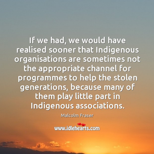 If we had, we would have realised sooner that indigenous organisations are sometimes not the appropriate Image