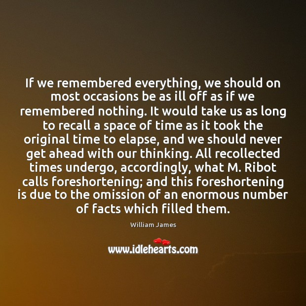 If we remembered everything, we should on most occasions be as ill Image