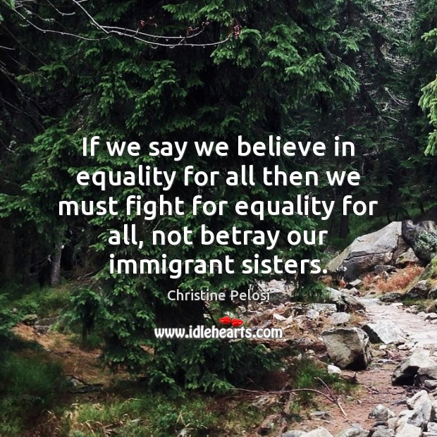If we say we believe in equality for all then we must Christine Pelosi Picture Quote