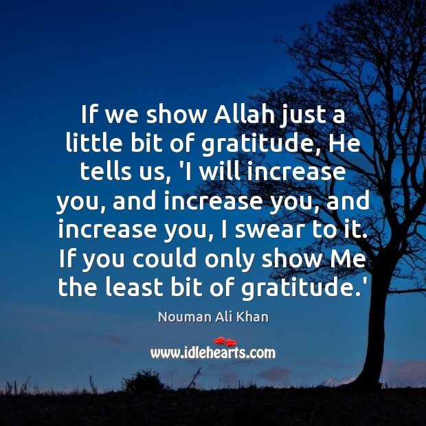 If we show Allah just a little bit of gratitude, He tells Image