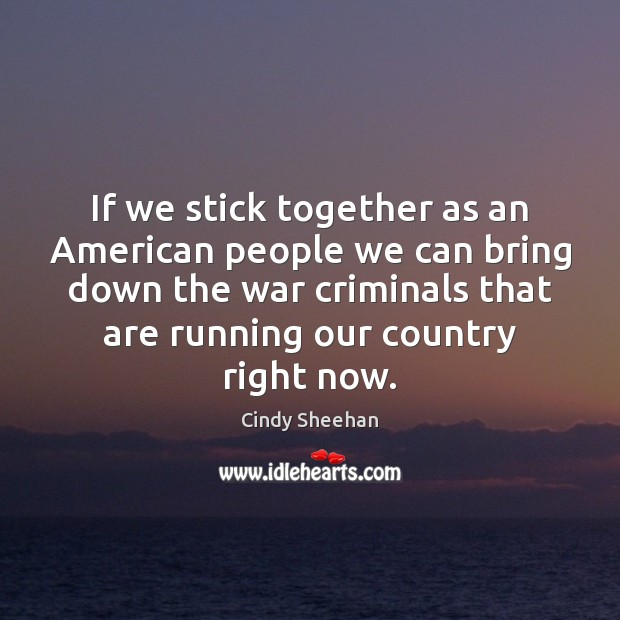 If we stick together as an American people we can bring down Cindy Sheehan Picture Quote