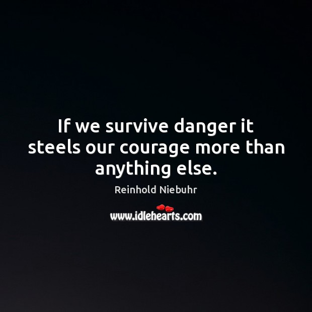 Image, If we survive danger it steels our courage more than anything else.
