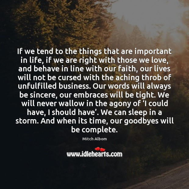 If we tend to the things that are important in life, if Mitch Albom Picture Quote