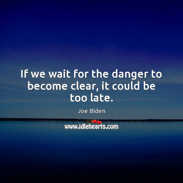 If we wait for the danger to become clear, it could be too late. Joe Biden Picture Quote
