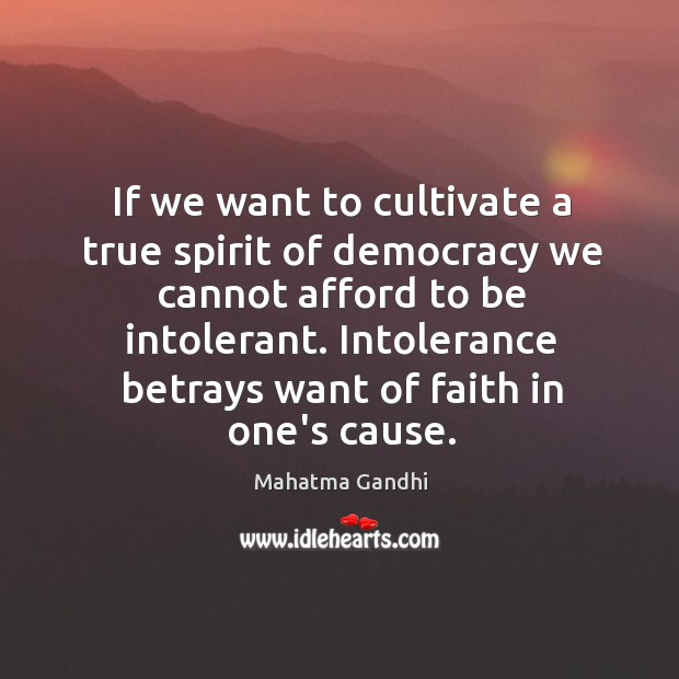If we want to cultivate a true spirit of democracy we cannot Image