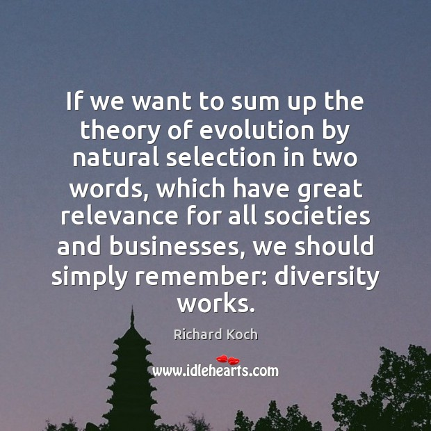 Image, If we want to sum up the theory of evolution by natural