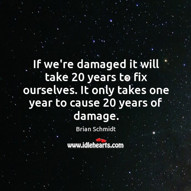 Image, If we're damaged it will take 20 years to fix ourselves. It only