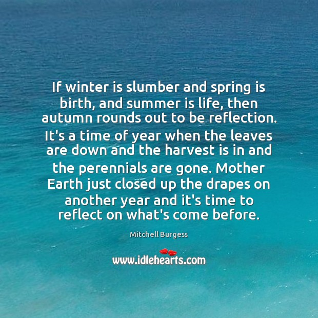 If winter is slumber and spring is birth, and summer is life, Image