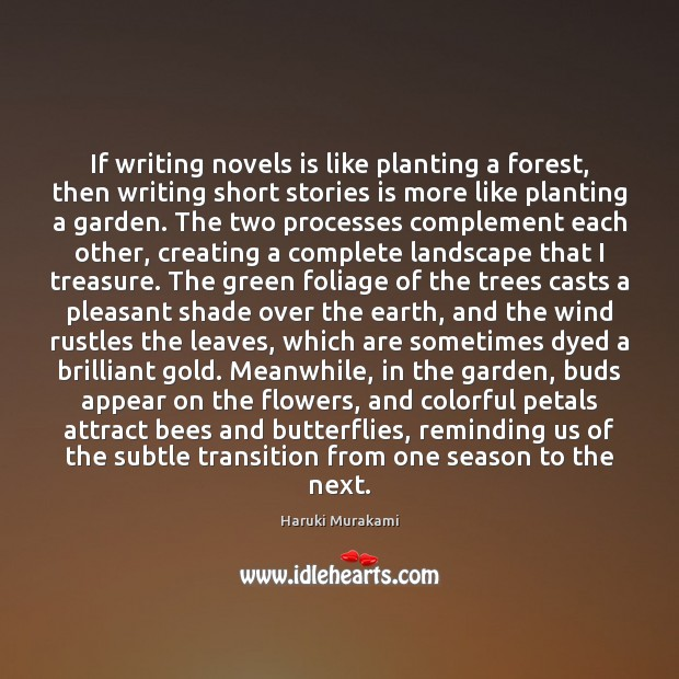 If writing novels is like planting a forest, then writing short stories Image