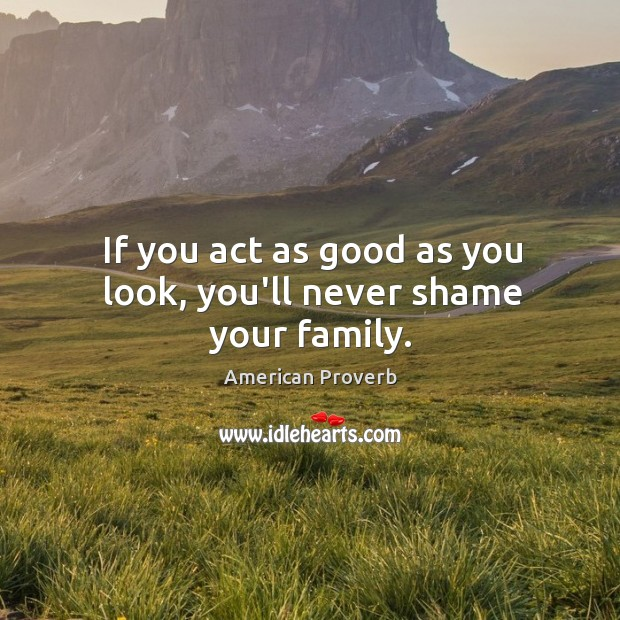 If you act as good as you look, you'll never shame your family. American Proverbs Image